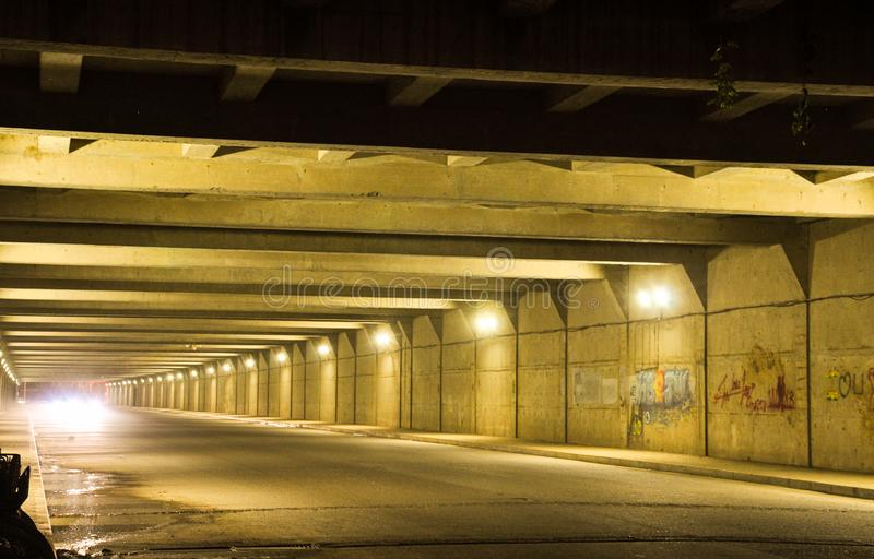 Old highway tunnel stock photo