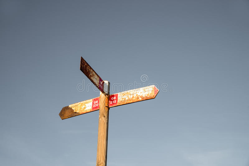 Old hiking signpost royalty free stock photos