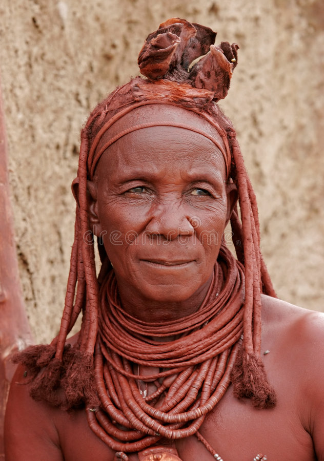 Old Himba woman, Kaokoland, Namibia stock photography