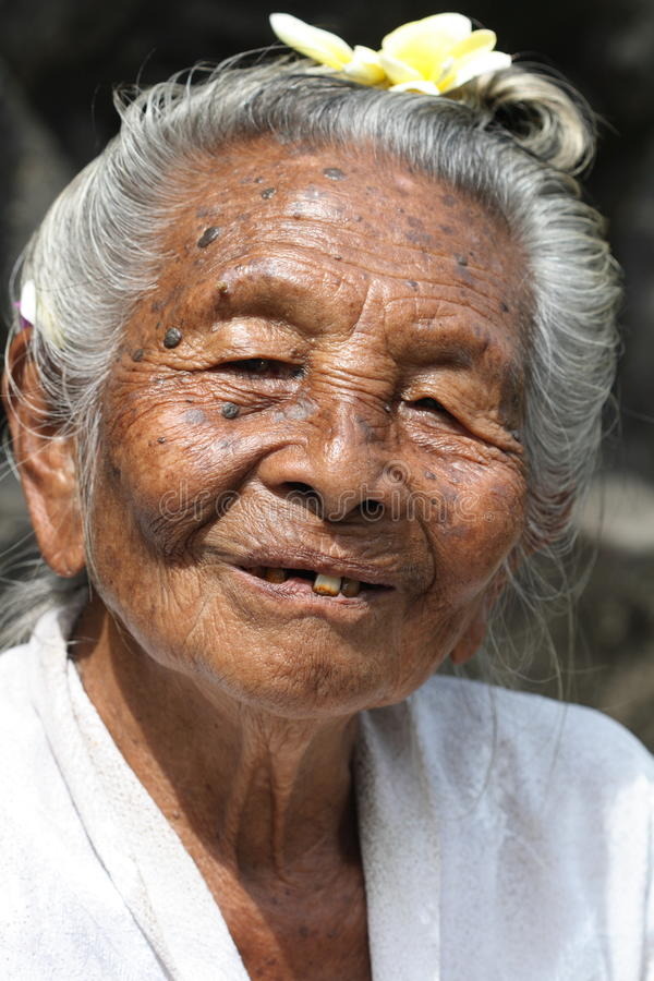 Old Hindu lady from Bali, Indonesia stock image