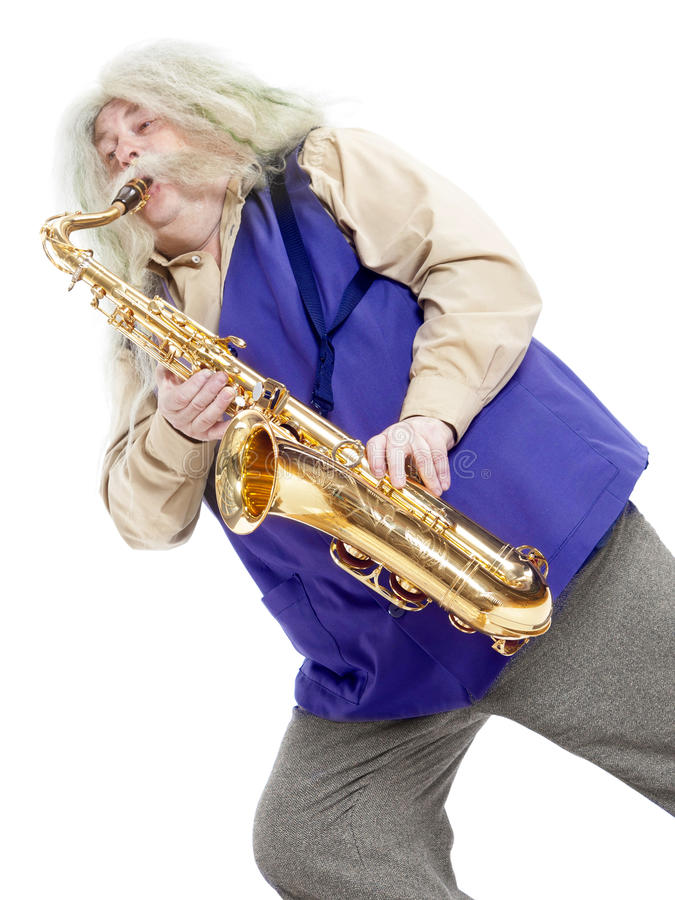 Old hippies saxophonist. Carved on a white royalty free stock photos