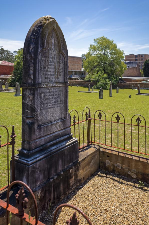 Old historic gravestone in Australian cemetery royalty free stock image