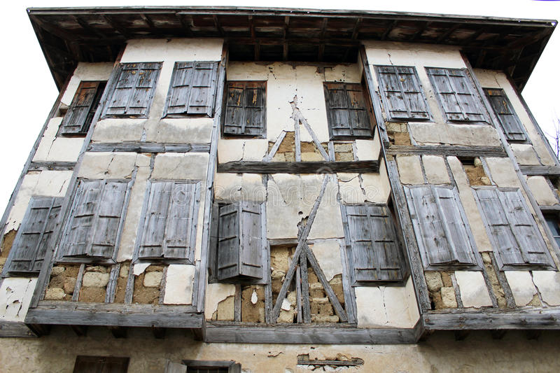 Old historic house in Safranbolu. Old historic house and wooden windows in Safranbolu stock photo