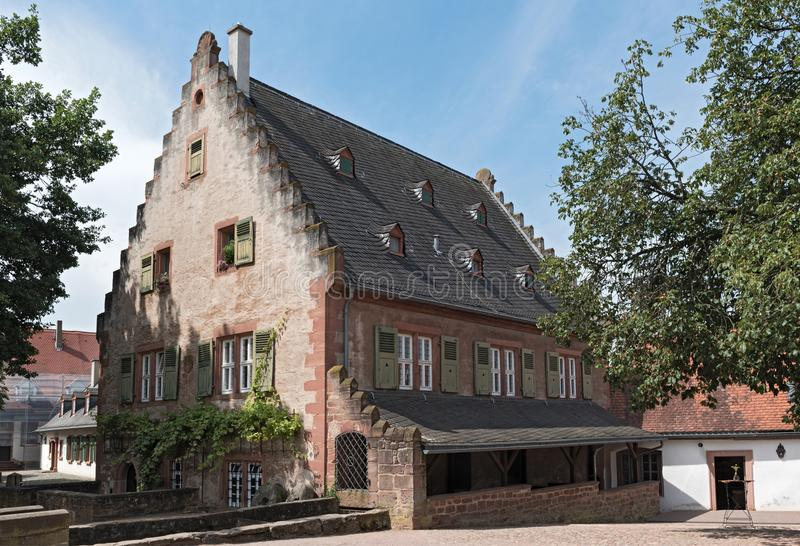 Old historic mill in the monastery, seligenstadt, hesse, germany.  stock photography