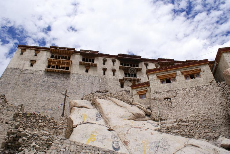 The old and historic Shey Monastery and Palace complex. The old and historic Shey Monastery and Shey Palace complex, located at the top of a hillock on the stock photo