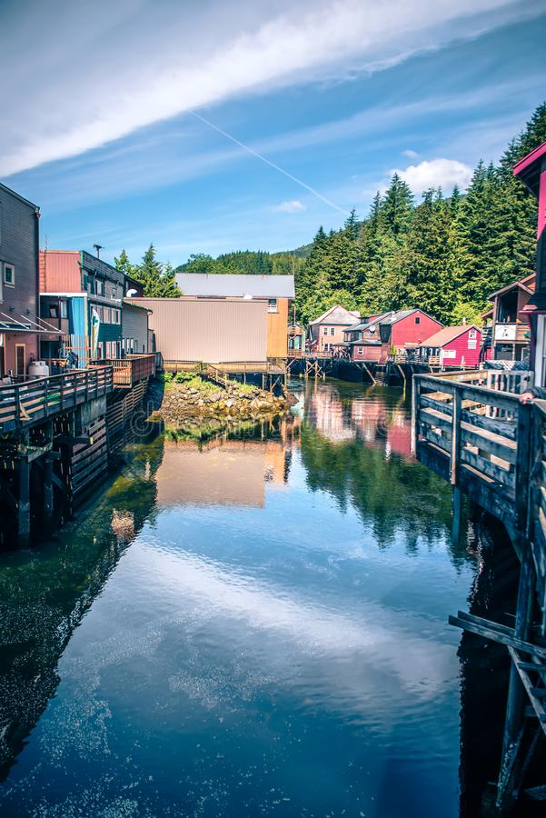 Old historic town of ketchikan alaska downtown royalty free stock images