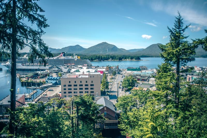 Old historic town of ketchikan alaska downtown stock image