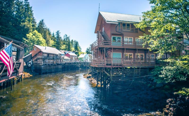 Old historic town of ketchikan alaska downtown stock images