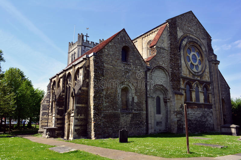 Old historic Waltham Abbey church building, England, UK. The Abbey Church of Waltham Holy Cross and St Lawrence is the parish church of the town of Waltham Abbey stock photos