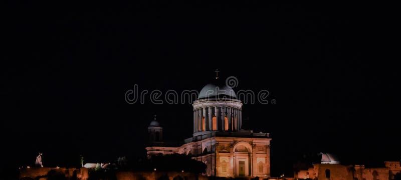 Old historical architecture in Esztergom. Old church basilic Esztergom historical Catholic night third biggest cathedral in europe stock images
