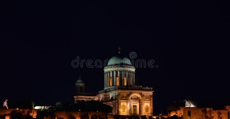 Old historical architecture in Esztergom. Old church basilic Esztergom historical Catholic night third biggest cathedral in europe stock image