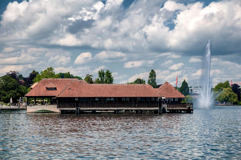 Old historical Bathing Hut in Rorschach stock photo