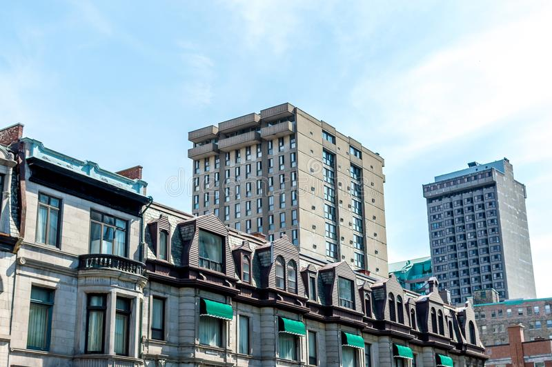 An old historical building with the large windows. In Montreal downtown, Canada royalty free stock photos