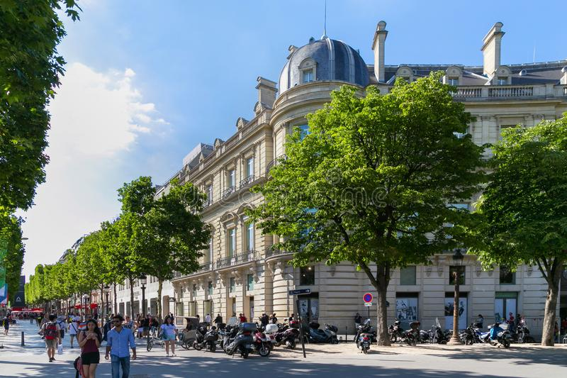 PARIS, FRANCE - JUNE 23, 2017: Old historical buildings in central part of Paris at summertime. Old historical buildings in central part of Paris at summertime stock images