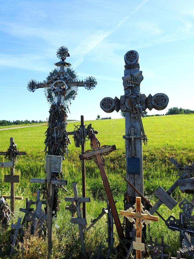 Cross in Cross hill near Siauliai town, Lithuania royalty free stock images