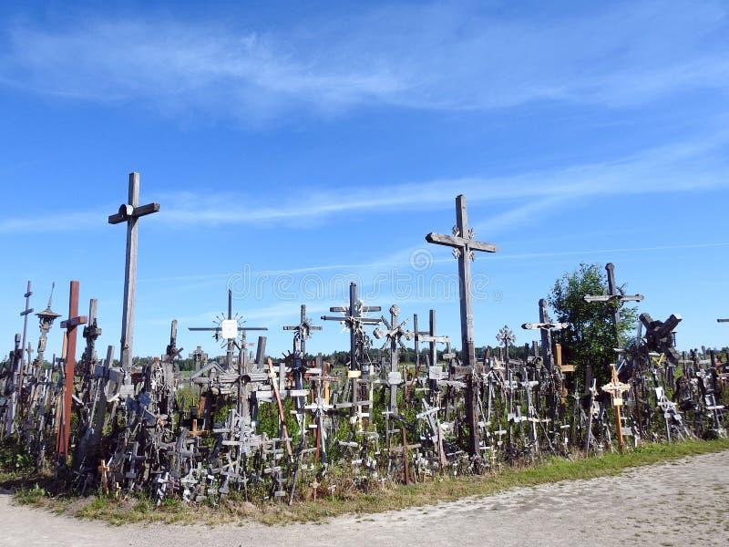 Cross in Cross hill near Siauliai town, Lithuania royalty free stock image