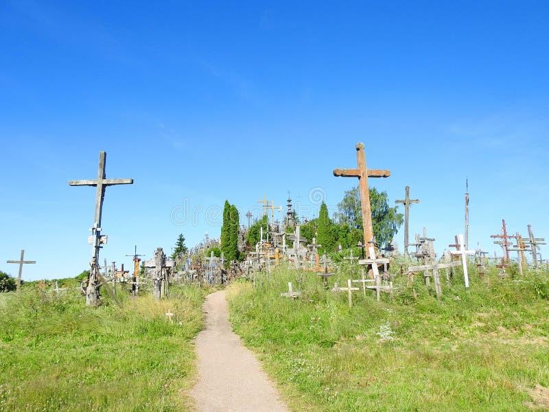 Cross in Cross hill near Siauliai town, Lithuania stock photography