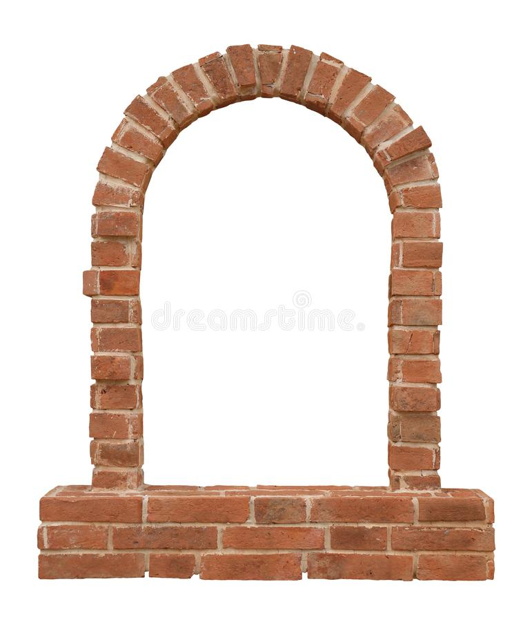 Old historical European medieval arch brick window isolated on white background for architectural design purpose stock photo