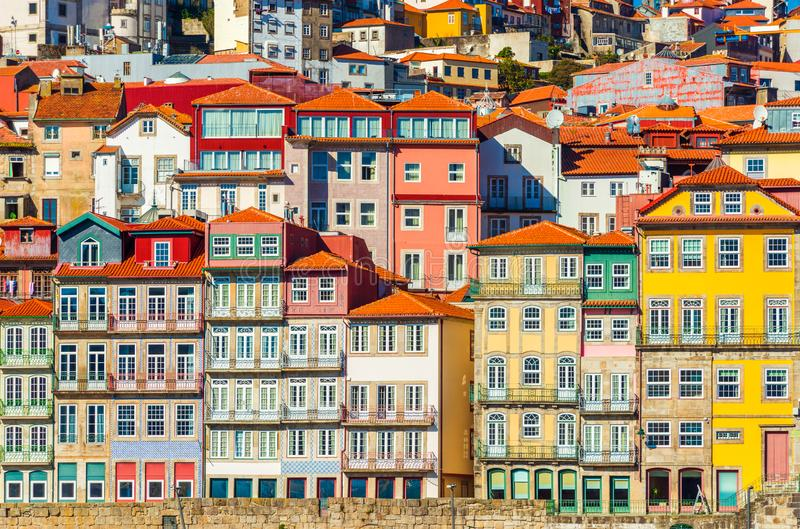 Old historical houses of Porto. Rows of colorful buildings in the traditional architectural style, Portugal royalty free stock images