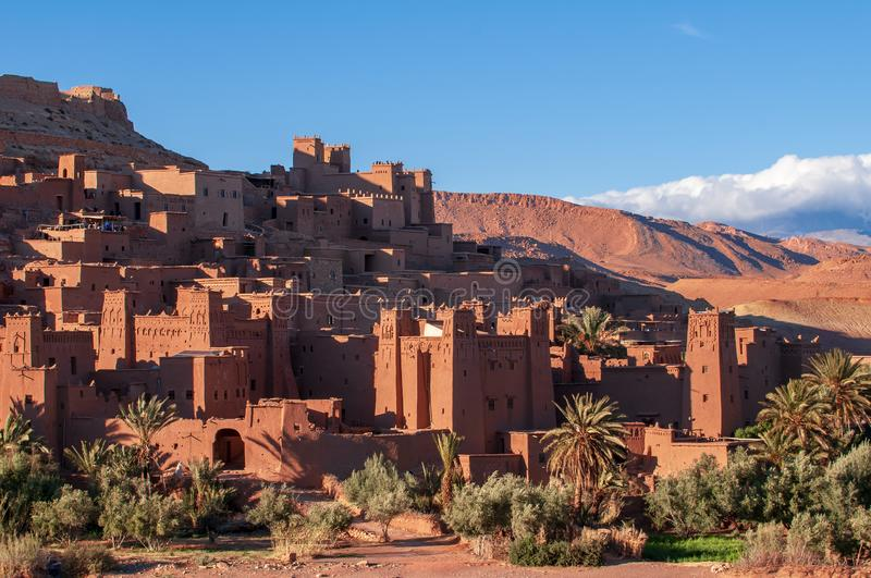 Old kasbah village Aid-Ben-Haddou in the desert of Morocco royalty free stock photography