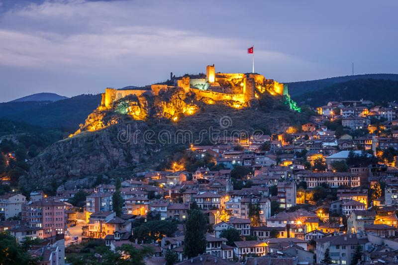Old historical Kastamonu castle and city landscape at blue hour time evening landscape in Turkey. Landmark travel tourism sky view town mountain architecture royalty free stock photos