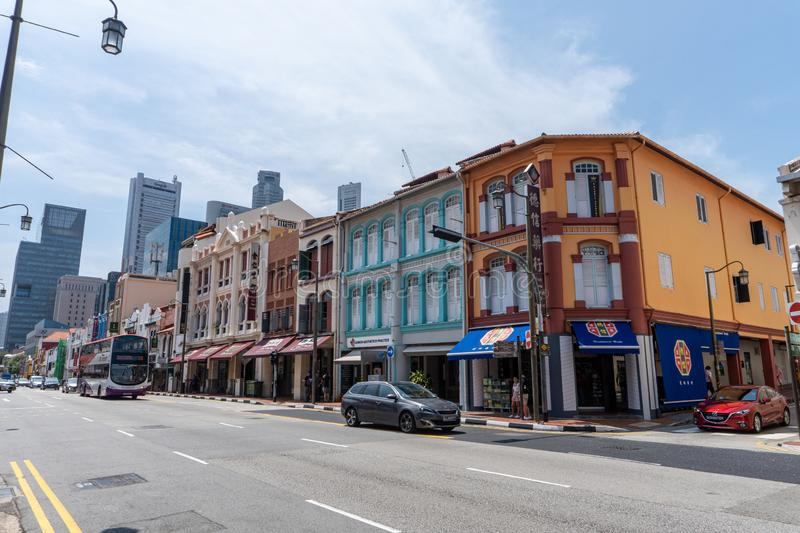 Old historically iconic designed colorful buildings along the street in China Town, Singapore stock images