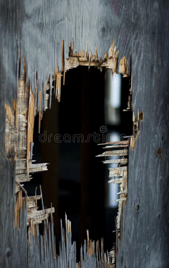 Old hole in wall royalty free stock photography