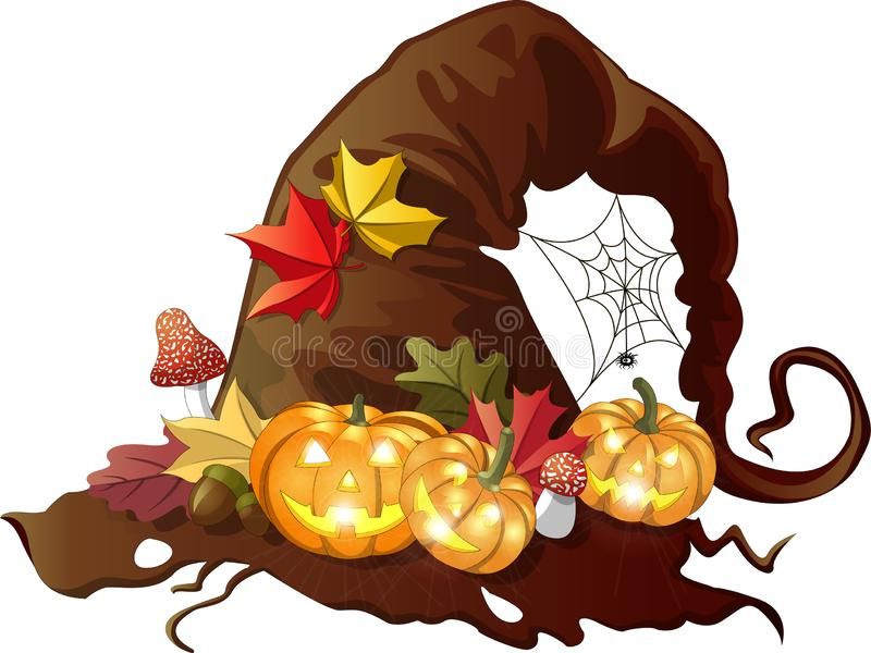 Old holed witch hat with halloween pumpkins, autumn leaves, fly agarics and spiderweb on isolated background vector illustration