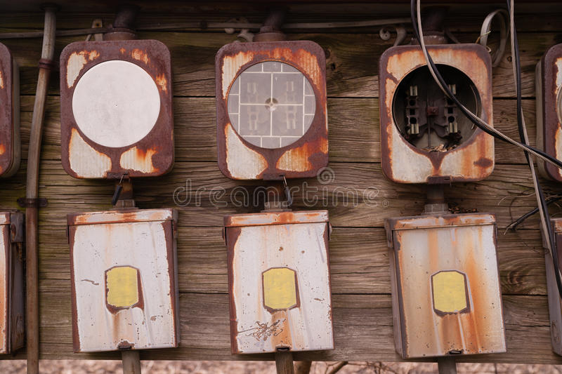 old home fuse box panel rusted electrical equipment stock. Black Bedroom Furniture Sets. Home Design Ideas