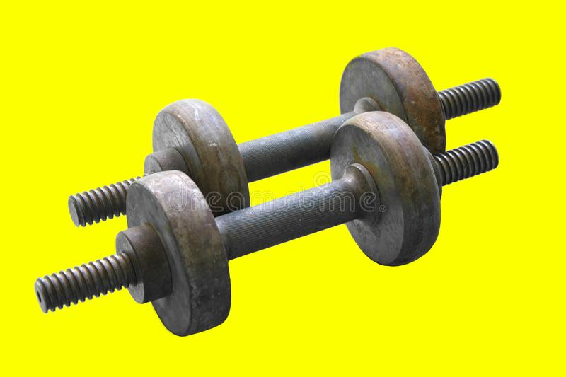 Old homemade metal dumbbells royalty free stock photo