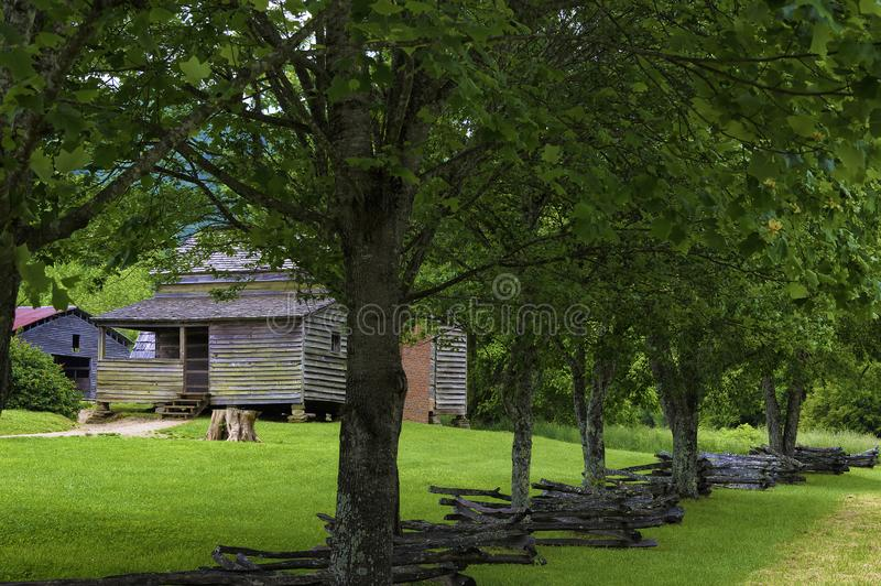 Old Homestead in Cades Cove Valley Tennessee Smoky Mountains. An old settler`s homestead cabin in Cades Cove Valley in Tennessee`s Great Smoky Mountains stock photos