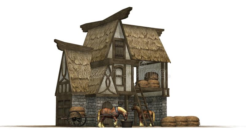 Old horse barn and horses - isolated on white background vector illustration