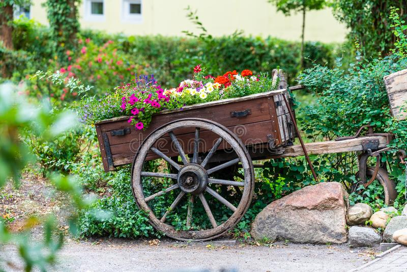 An old horse carriage with flowers on it royalty free stock photos