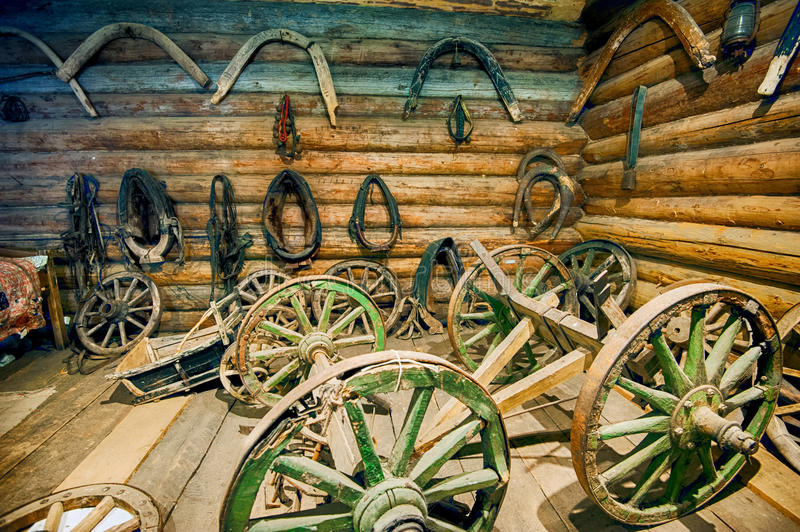 Old horse equipment. Old wooden equipment of horse royalty free stock photos