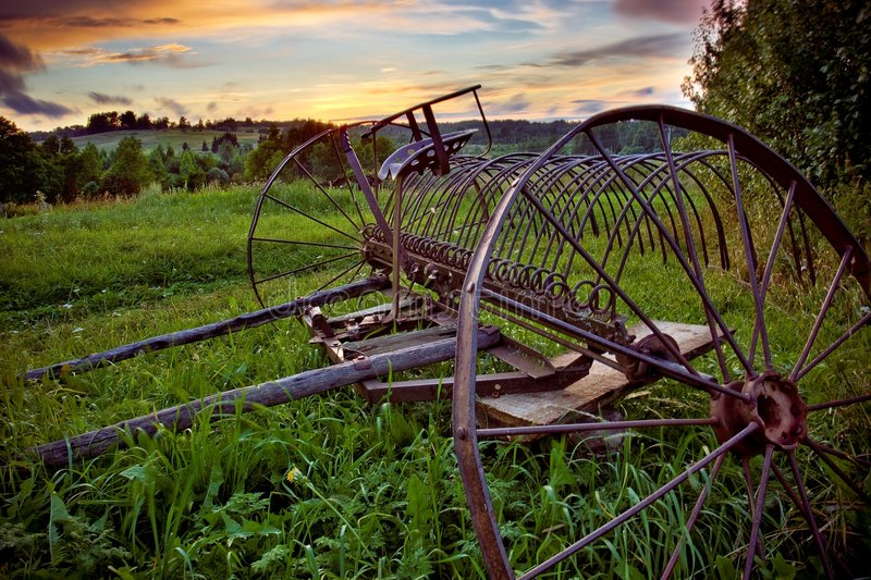 Old horse's rake. Vintage One Horse Dump Rake - landscape stock photo