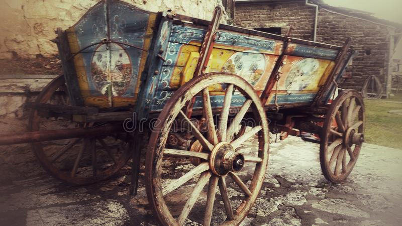 Old horse wooden wagon vintage royalty free stock photo