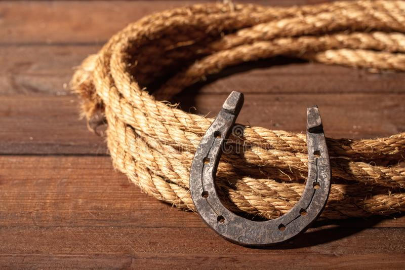 Horseshoe and lasso royalty free stock images