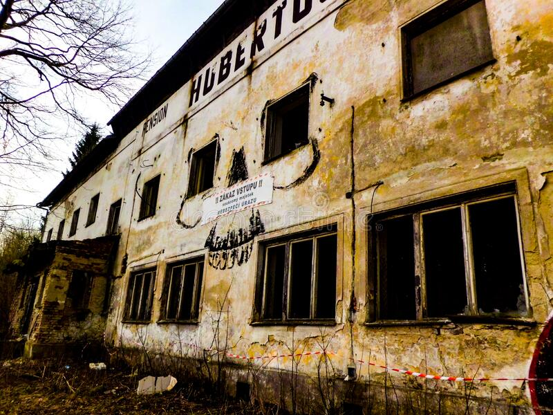 Old hotel in desolate condition.  stock photo