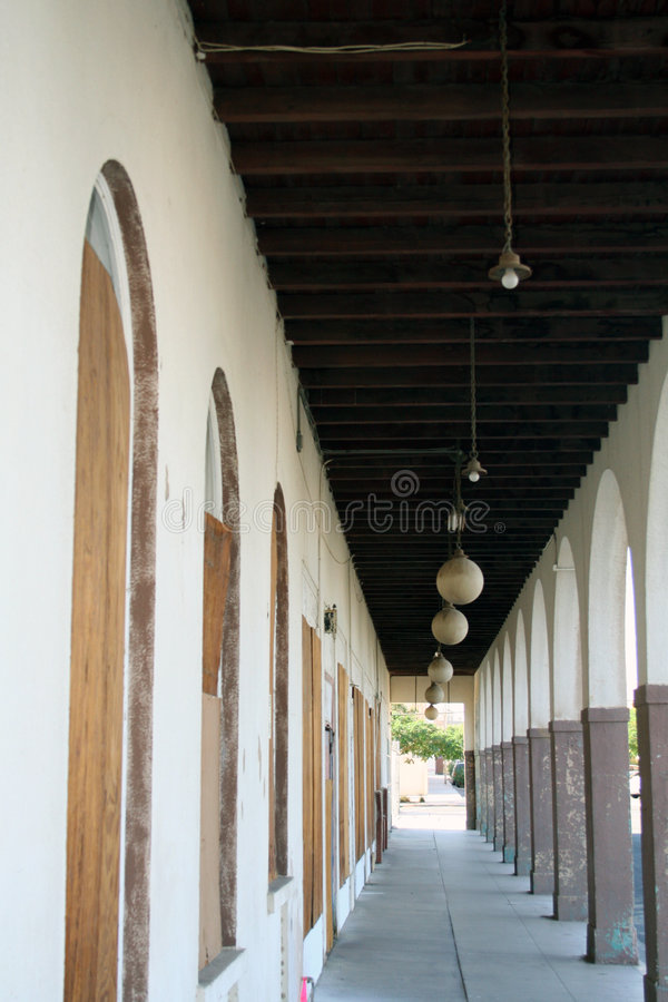 Old Hotel Walkway. Walkway in a old hotel in Yuma, Arizona stock image