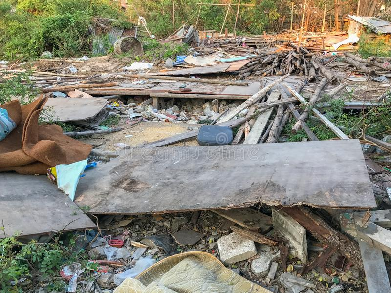 Old house completely destroyed stock images