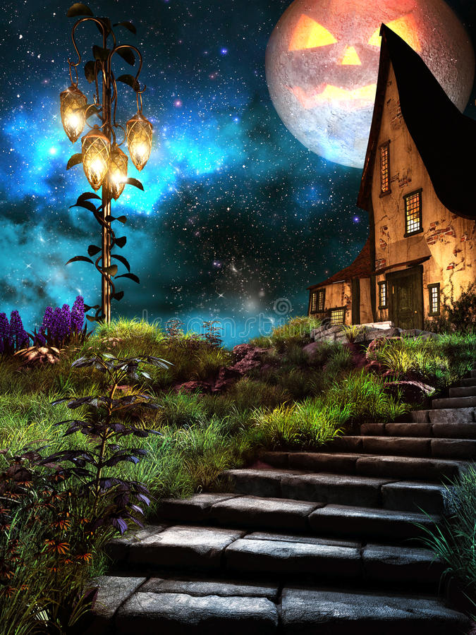 Old house on the Halloween Night royalty free illustration