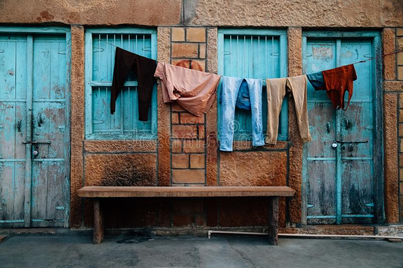 Old house and hanging laundry in Jaisalmer, India royalty free stock photos