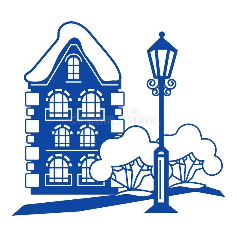 Old house icon, simple style royalty free illustration
