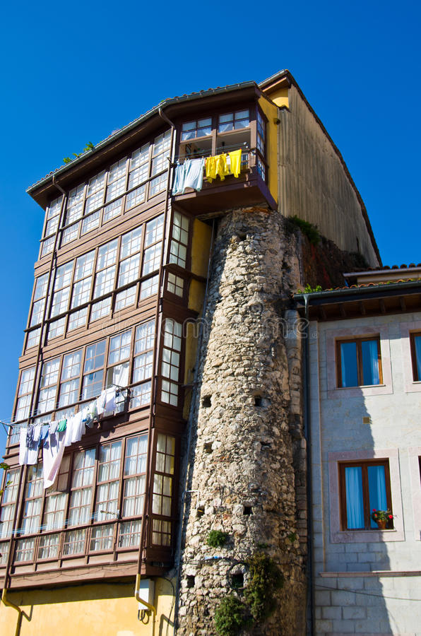 Old house in IIanes, Asturias. North of Spain. stock image