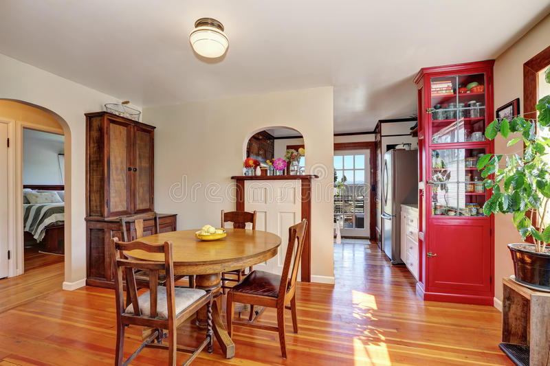 Old house interior. Dining room with antique furniture. Northwest, USA stock photos