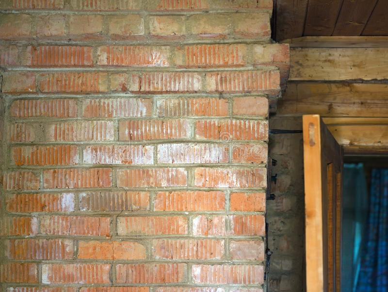 Old house interior. With brick and wooden walls stock image