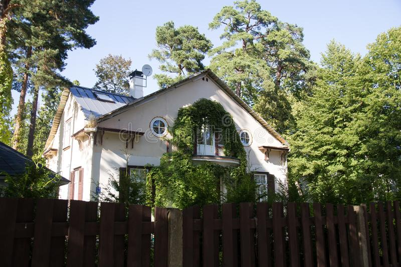 Old house in Jurmala, Latvia. Old house in Jurmala, Dzintari.Latvia. The most distinguishing architectural feature in JÅ«rmala is the prevalence of wooden royalty free stock photos