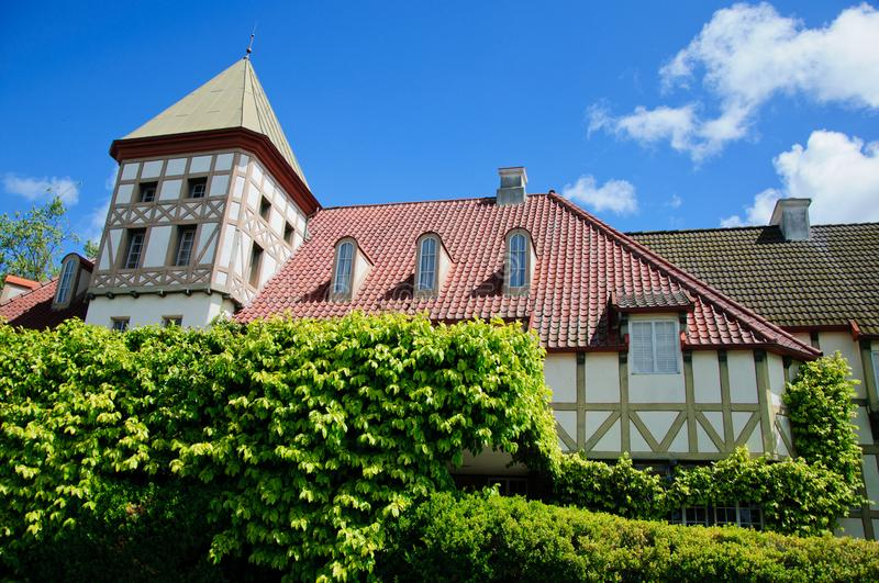 Old house in medieval village in california. In sunny day royalty free stock image