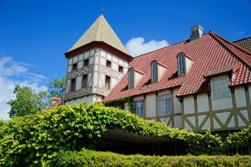 Old house in medieval village in california. In sunny day stock photo