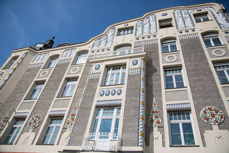 Old house in munich, bavaria , with blue sky stock photography